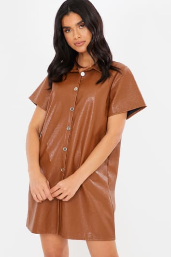 TAN PU BUTTON DOWN DETAIL SHORT SLEEVE MINI DRESS