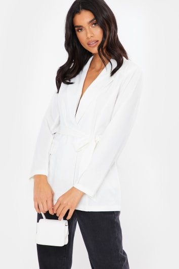 WHITE BELTED TIE FRONT TAILORED BLAZER