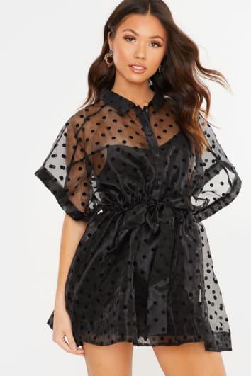 BLACK POLKA DOT ORGANZA TIE WAIST SHIRT DRESS