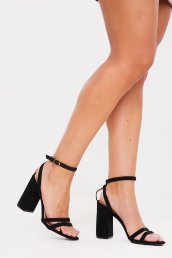 BLACK CUT OUT STRAP HEELS