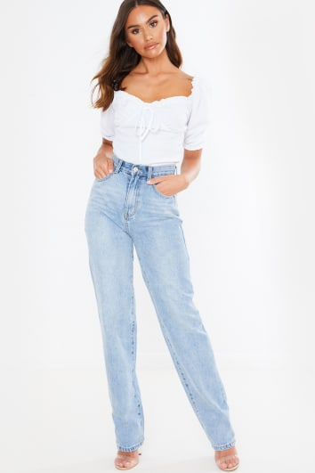 light wash denim straight leg jeans