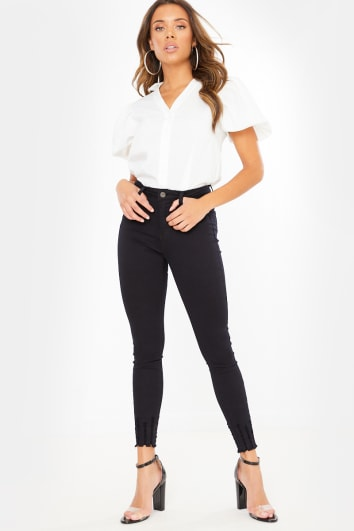 BLACK HIGH WAIST FRAYED DETAIL HEM SKINNY JEANS