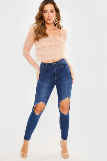 DARK BLUE LARGE RIP DETAIL SKINNY JEANS