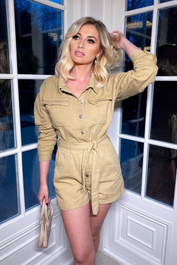 KHAKI DENIM OVERSIZED PLAYSUIT
