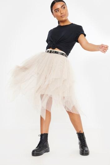 cream tulle midi skirt