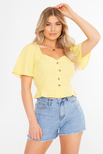 yellow button down sweetheart neck top