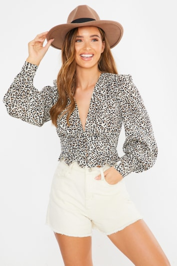 leopard button down crop top