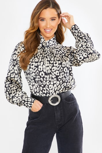 black leopard satin long sleeve blouse