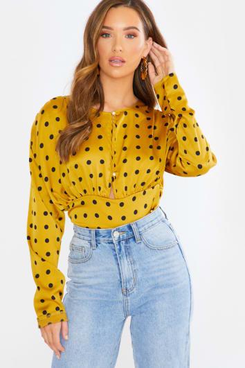 mustard polka dot satin button front blouse