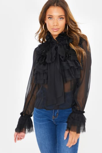 BLACK BOW FRILL DETAIL LONG SLEEVE BLOUSE
