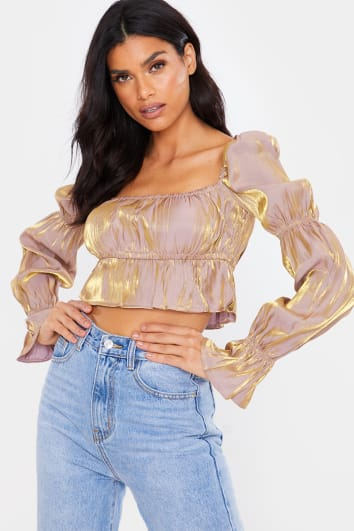 NUDE METALLIC RUCHED LONG SLEEVE CROP TOP