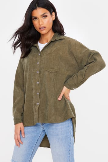 KHAKI CORD OVERSIZED DIP HEM BUTTON DOWN SHIRT