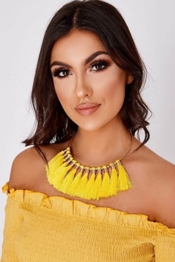 YELLOW TASSEL NECKLACE