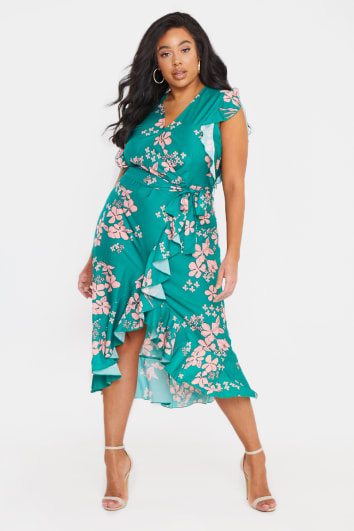 CURVE BILLIE FAIERS GREEN FLORAL WRAP DETAIL MIDI DRESS