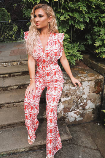 BILLIE FAIERS RED BAROQUE PRINT FRILL SLEEVE WRAP JUMPSUIT