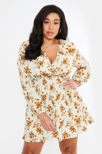 CURVE DANI DYER CREAM FLORAL PRINT BALLOON SLEEVE PLEATED MINI DRESS