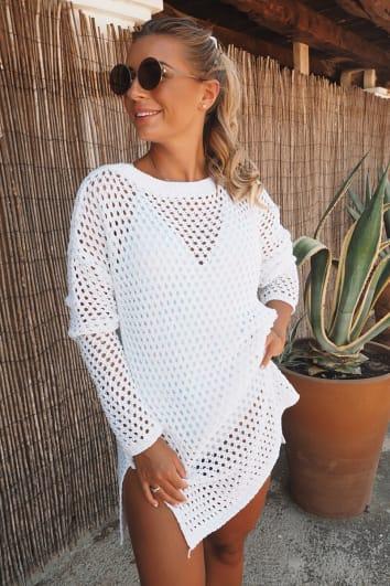DANI DYER WHITE CROCHET OVERSIZED DRESS