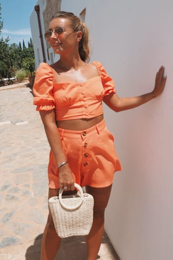 DANI DYER ORANGE BUTTON DOWN PUFF SLEEVE TOP