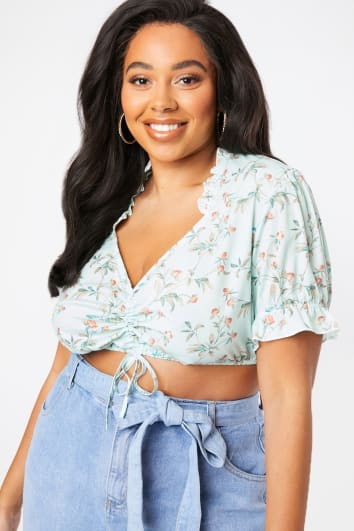 CURVE LAURA JADE GREEN FLORAL PUFF SLEEVE RUCHED CROP TOP