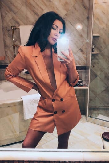 LORNA LUXE 'SORRY NOT SORRY' TAN BLAZER DRESS