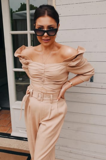 LORNA LUXE 'FIN DE SIECLE' TAN FRILL DETAIL PUFF SLEEVE CO-ORD CROP TOP