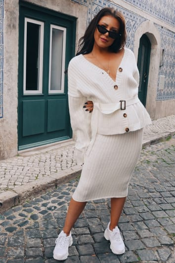 LORNA LUXE 'NO REGRETS' RIBBED CREAM CO-ORD MIDI SKIRT