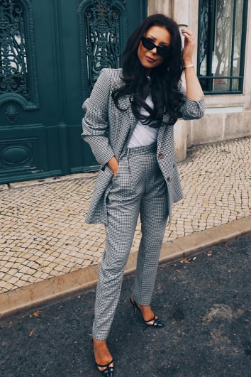 LORNA LUXE 'SORRY I MISSED YOUR CALL' CHECK TAILORED BROWN CO-ORD TROUSERS