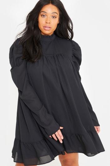 CURVE LORNA LUXE 'CORA PEARL' BLACK HIGH NECK SWING DRESS
