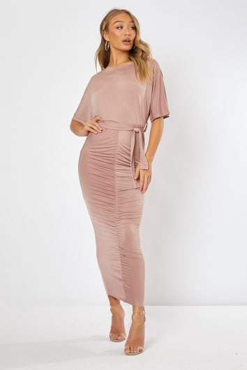 pink slinky ruched belted maxi dress