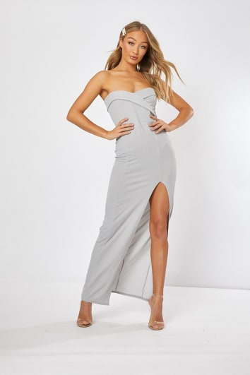 light grey split front maxi dress