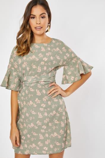 sage green floral shift tie waist frill dress