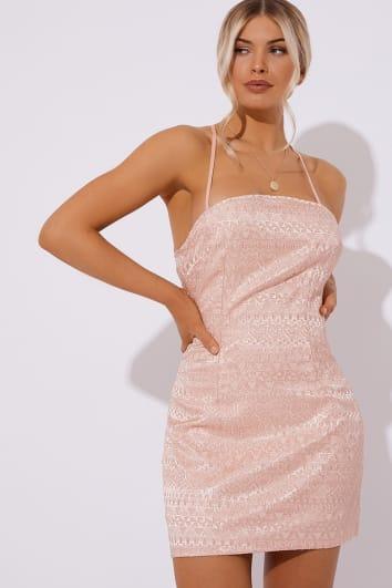 light pink jacquard lace up back dress