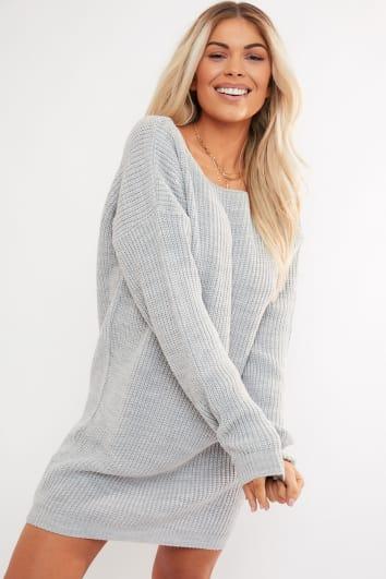 grey v plunge back jumper dress