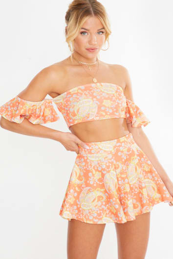 orange paisley print frill sleeve co-ord crop top