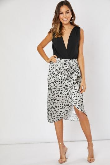 grey leopard print wrap satin skirt