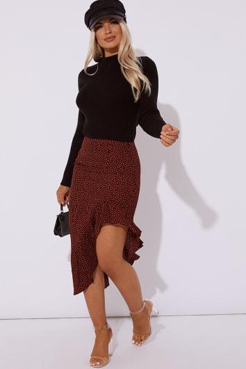 red polka dot frill hem asymmetric midi skirt