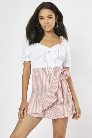 pink gingham frill hem wrap skirt
