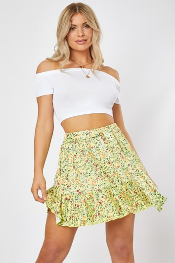 yellow ditsy floral print frill hem mini skirt