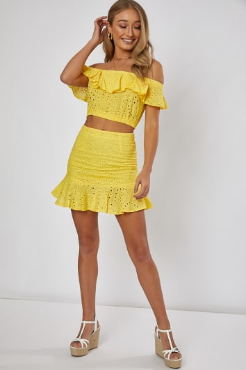 yellow frill hem detail co-ord mini skirt