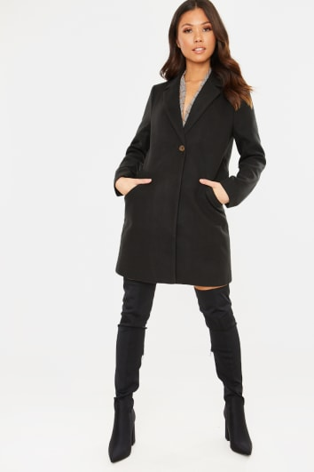 BLACK SINGLE BREASTED FAUX WOOL COAT