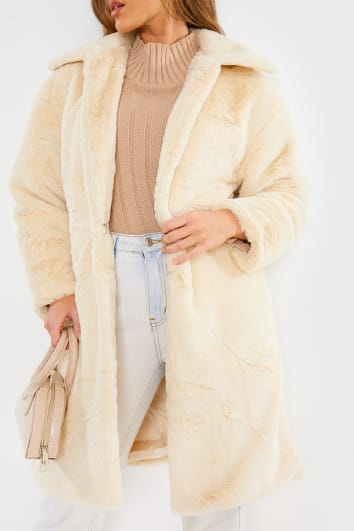 CREAM FAUX FUR LONGLINE COAT