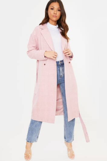 PINK HERITAGE CHECK LONGLINE BELTED COAT