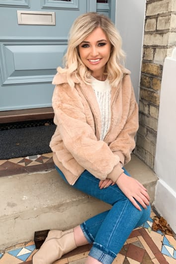 CAMEL FAUX FUR CROPPED JACKET