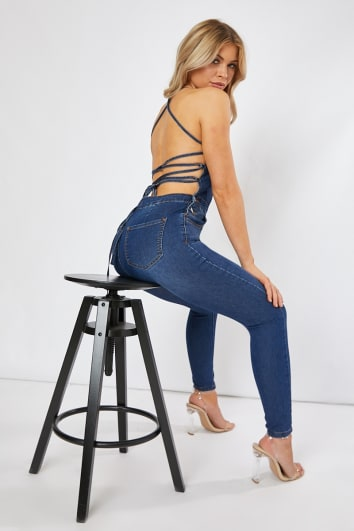 blue lace up back denim fitted dungarees