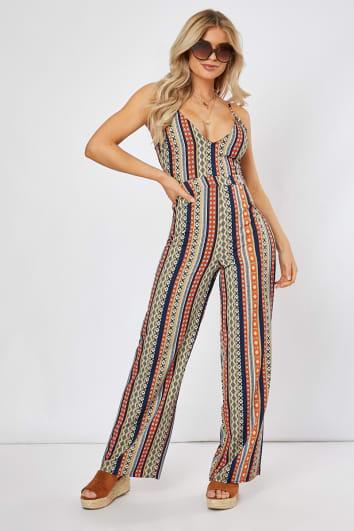 navy geometric stripe print jumpsuit