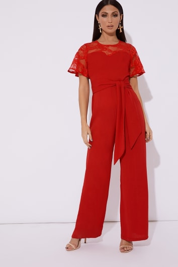 red lace wrap front wide leg jumpsuit