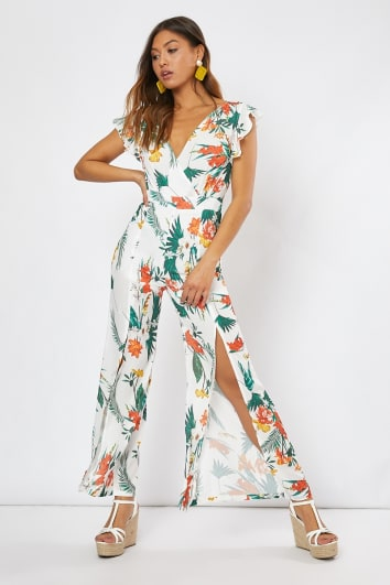white tropical print tie back frill jumpsuit