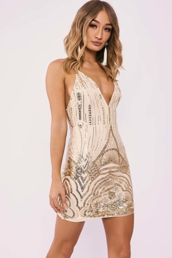 ISABELL GOLD SEQUIN STRAPPY PLUNGE MINI DRESS