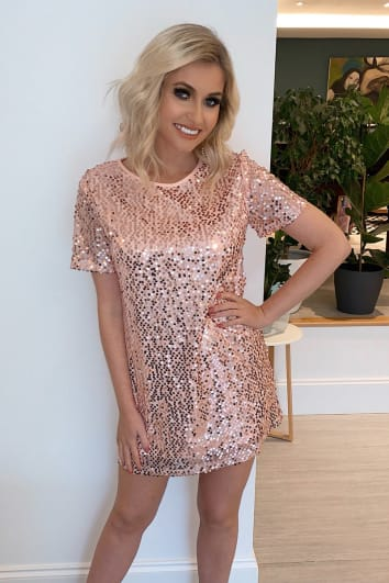 rose gold sequin t shirt dress