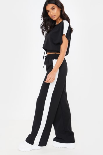 BLACK CROPPED RUCHED TIE FRONT DETAIL LOUNGEWEAR SET